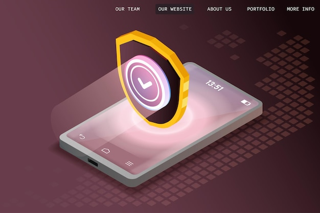 Konzept des schutzes digitaler daten, datenbank- und serverdatenschutz, blockchain, programmblöcke, isometrische schildabbildung