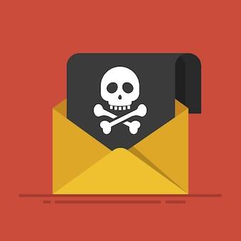 Konzept des sendens von spam und von virus. hackerangriff. schriftlicher umschlag mit einem schwarzen blatt und einem bild des schädels und der knochen. flache illustration lokalisiert auf rotem hintergrund.