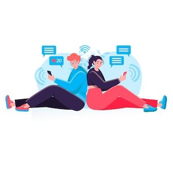 Konzept des sozialen netzwerks. mann und frau senden nachrichten und e-mails von smartphones, internetsucht und online-kommunikationscharakterszene. vektorillustration im flachen design mit leuteaktivitäten