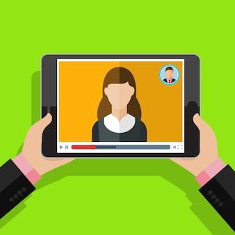 Konzept des streamings, des studiums und des lernens, des fernunterrichts und des wissenswachstums. symbole für online-konferenzen und webinare. flaches design, vektorillustration.