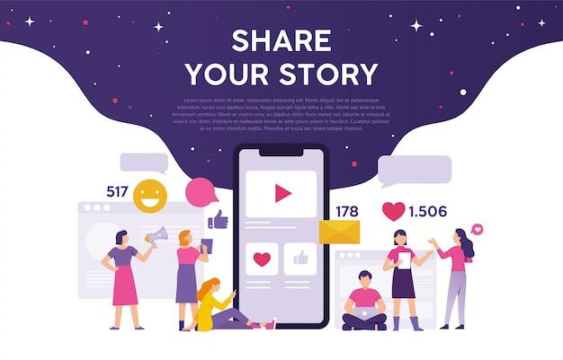 Konzept des teilens ihrer geschichte auf social media, um anerkennung zu erhalten