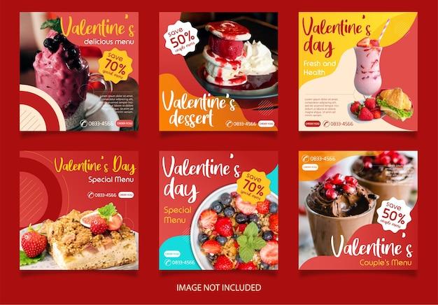 Konzept des verkaufens von lebensmitteln im valentinstagsthema. instagram post vorlage über leckeres essen