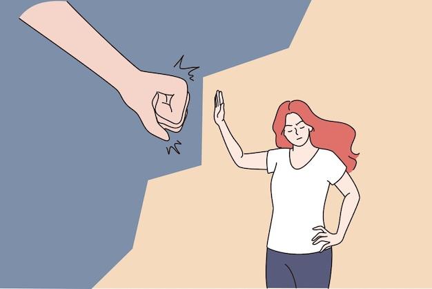Konzept des weiblichen missbrauchs und der belästigung