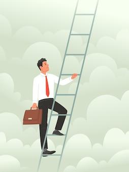 Konzept, die karriereleiter zu erklimmen metaphop, höhen im geschäft zu erobern
