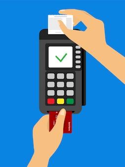 Konzept eine hand schiebt die karte in das terminal, während die andere hand den scheck aufnimmt.