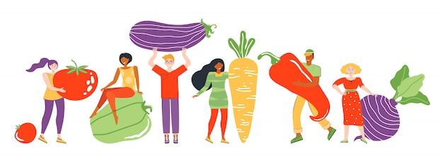 Konzept eines gesunden lebensstils, essen und ernährung. gruppe kleiner männlicher und weiblicher charaktere neben großem frischem gemüse. landwirtschaftliche produkte und vegetarisches essen. flache illustration.
