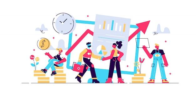 Konzept finanzinvestitionen, investitionen in innovation, marketing, analyse, sicherheit von einlagen für webseiten, banner, präsentationen, soziale medien. abbildung garantie der finanziellen sicherheit