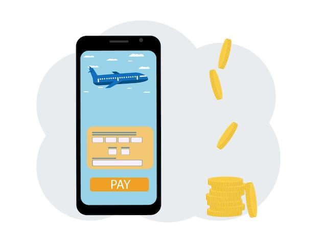Konzept, flugtickets online zu bezahlen und geld zu sparen. telefon mit app und münzen