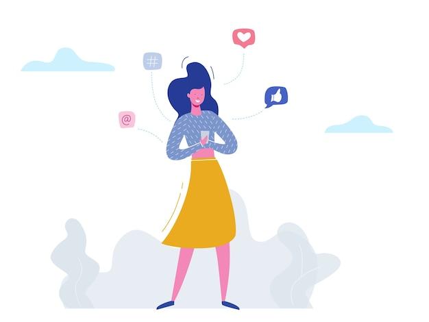 Konzept frau charakter chat am telefon in sozialen medien, netzwerkblasen. illustrationsdesign für web-banner, marketingmaterial, geschäftspräsentation, online-werbung