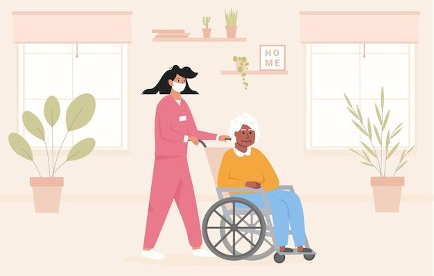 Konzept für altersheim während der pandemie. krankenschwester mit gesichtsmaske mit älterer schwarzer frau im rollstuhl. pflegeeinrichtung im pflegeheim. afroamerikanische behinderte dame in ihrem zimmer. vektor.