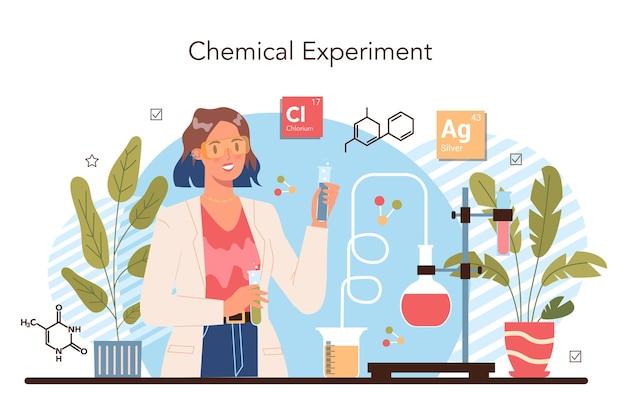 Konzept für das studium der chemie. chemieunterricht. wissenschaftliches experiment