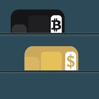 Konzept für den austausch von kryptowährungen. das wallet enthält plastikkarten für kryptowährung und währung. vektor-illustration