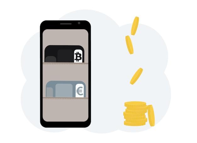 Konzept für den austausch von kryptowährungen. handy mit abbildung einer brieftasche mit plastikkarten für kryptowährung und währung.. vektorillustration