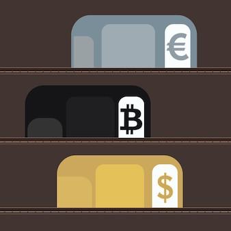 Konzept für den austausch von kryptowährungen. in der brieftasche befinden sich plastikkarten für kryptowährung und für währung