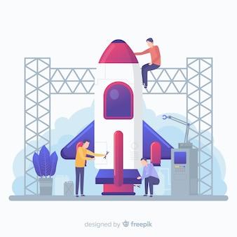 Konzept für den bau einer rakete