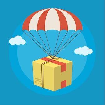 Konzept für den lieferservice. paket, das mit fallschirm vom himmel herabfliegt. flaches design farbig