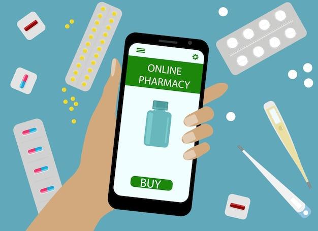Konzept für den online-drogenkauf. vektor-illustration. hand mit handy und online-apothekenanwendung.