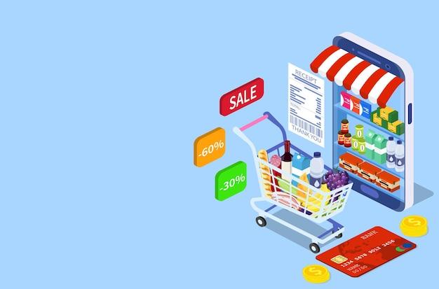 Konzept für den online-einkauf von lebensmitteln. isometrischer einkaufswagen mit frischen speisen und getränken. bestellen sie lebensmittel, lebensmittel online von der app per smartphone. vektorillustration im flachen stil