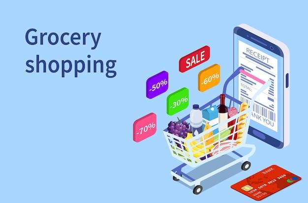 Konzept für den online-einkauf von lebensmitteln.