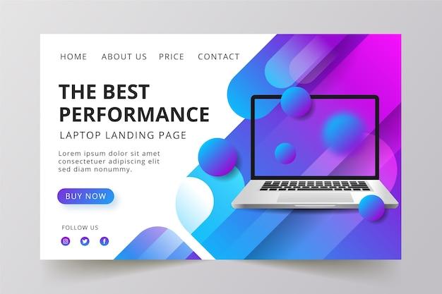 Konzept für die landingpage mit laptop-design