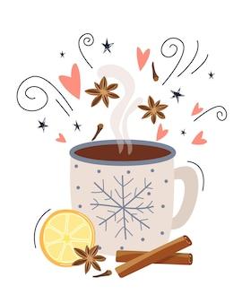 Konzept für die zubereitung eines heißen getränks, kaffees oder kakaos mit zimt. mit liebe gemacht. illustration im flachen stil