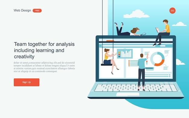 Konzept für digitales marketing, analyse und entwicklung.