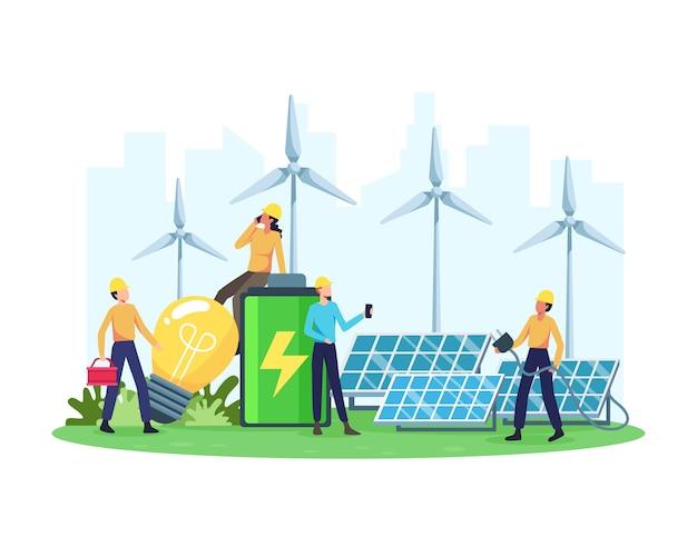 Konzept für erneuerbare energien. erneuerbares elektrizitätswerk mit sonnenkollektoren und windkraftanlagen. saubere elektrische energie aus erneuerbaren quellen wie sonne und wind. in einem flachen stil