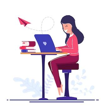 Konzept für freiberufler. online lernen. freiberufliches mädchen arbeitet von zu hause aus