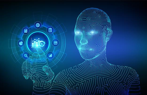 Konzept für geschäftsdatenanalyse und roboterprozessautomatisierung auf virtuellem bildschirm. drahtgebundene cyborg-hand, die die digitale schnittstelle berührt.