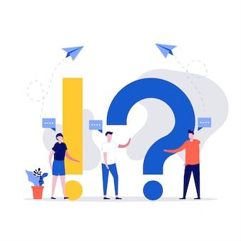 Konzept für häufig gestellte fragen. junge frau und mann mit frage und antwort. personenzeichen, die in der nähe von ausrufen und fragezeichen stehen.