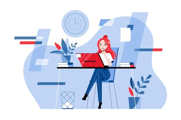 Konzept für kreativität, brainstorming, innovation und teamwork. lächelnde sekretärin geschäftsfrau in formeller kleidung arbeitet am computer im büro. karikatur-lineare umriss-flache vektor-illustration.