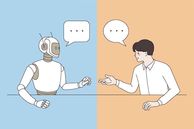 Konzept für künstliche intelligenz und technologien. junger lächelnder mann-entwickler sitzt im chat und spricht mit roboter, der forschungsvektorillustration macht