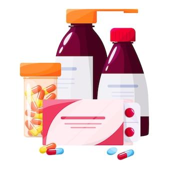 Konzept für medikamente und gesundheitsbehandlungen. sammlung von apotheke droge in flasche und box. medizinpille in packung. drogerie- und apothekerkonzept.