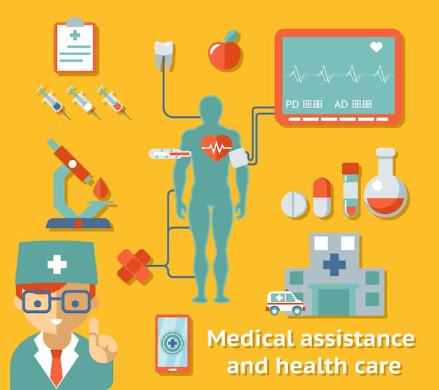 Konzept für medizinische hilfe und gesundheitsversorgung. medizin und kardiogramm, zahnmedizin und kardiologie, krankenhaus und arzt. vektorillustration