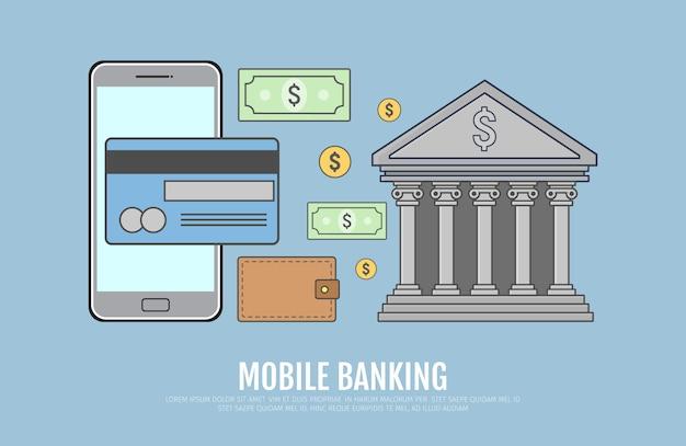 Konzept für mobile banking. online-zahlung, online-banking, geschäftsprozess. vektorillustration in der linie kunstdesign.