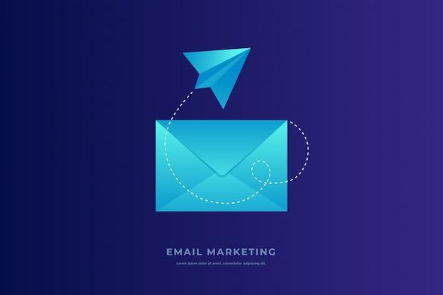 Konzept für mobile e-mail-benachrichtigungen. geschlossener postumschlag und papierflugzeug auf blauem hintergrund. e-mail marketing. flache illustration.