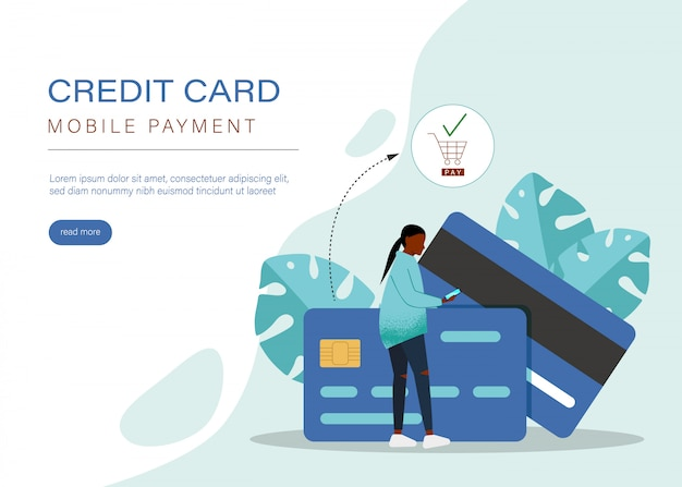 Konzept für mobiles bezahlen oder geldtransfer. e-commerce-markt einkaufen online-illustration mit winzigen menschen charakter. vorlage für web-landingpage, banner, präsentation, social media, printmedien