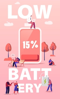 Konzept für niedrigen batteriestand. personenzeichen laden geräte, mobiltelefone und geräte auf. cartoon-illustration