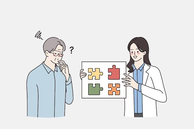 Konzept für psychische gesundheit und alterung. junge lächelnde arztfrau, die puzzleteile zeigt, um frustrierte reife ältere denkende mannvektorillustration zu denken