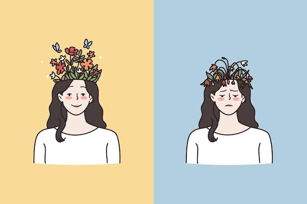 Konzept für psychische probleme und kontraste