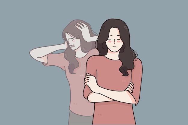Konzept für schizophrenie und psychische störungen Premium Vektoren