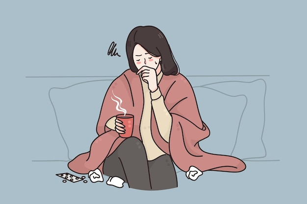 Konzept für schweren husten bei kalter grippe Premium Vektoren