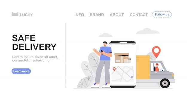 Konzept für sichere lieferung und kurierdienst, junger mann bestellt im online-shop, großbild-telefon mit tracking-standort des kuriers.