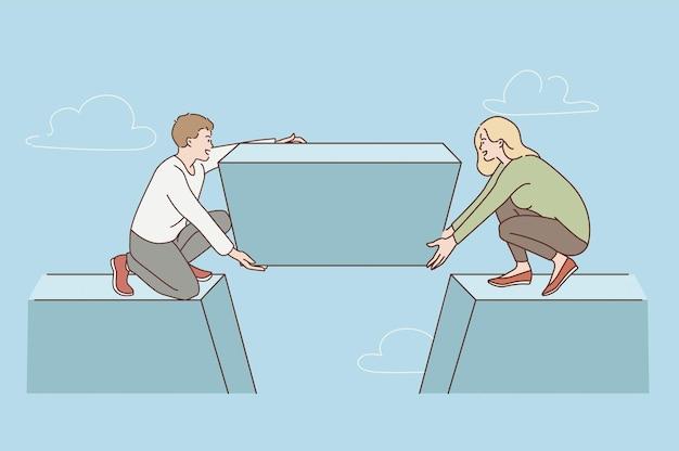 Konzept für teamarbeit und vereinte anstrengungen