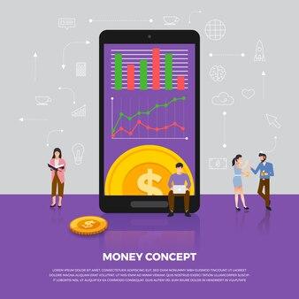 Konzept geldgeschäft. gruppe menschen entwicklung ikone münzgeld. veranschaulichen.