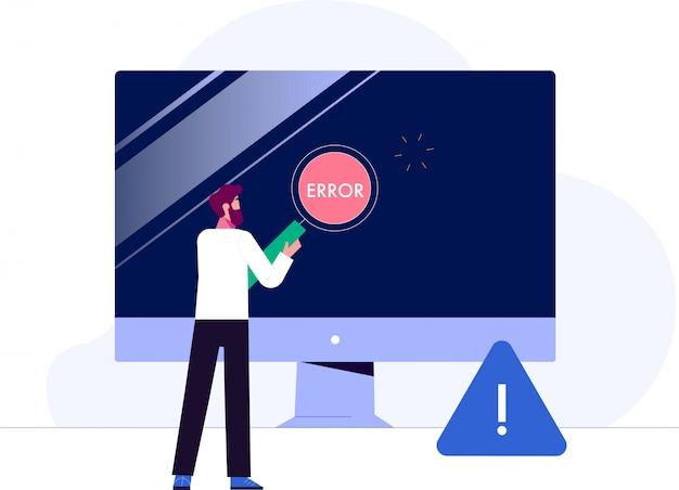 Konzept geschäftsmann charakter mit modernem gerät und technologie mit warnung. vektorillustration