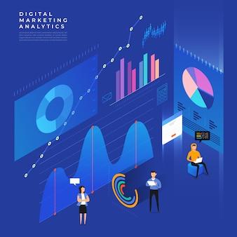 Konzept geschäftsstrategie. isometrisch flach. analysedaten und investition. geschäftserfolg. finanzielle überprüfung mit laptop und infografik-elementen. illustration.