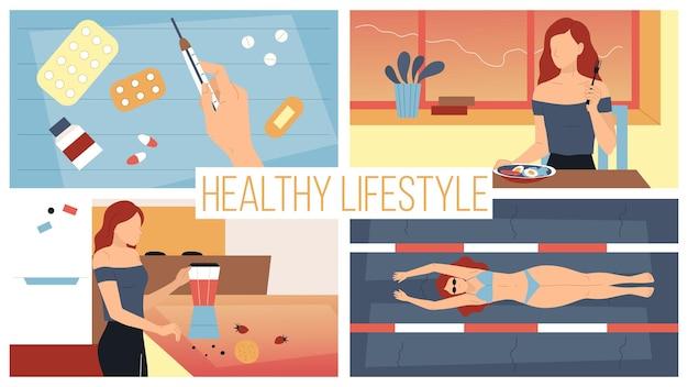 Konzept gesunder lebensstil und aktiver sport. junge hübsche frau, die der diät und gesundheit folgt, vitamine nehmen, vitamin-cocktails tun, im pool auf dem rücken schwimmen. cartoo flat style. vektor-illustration.