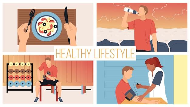 Konzept gesunder lebensstil und aktiver sport. junger mann, der der diät und der gesundheit folgt, misst druck, trainiert im fitnessstudio mit hanteln, isst gesundes essen. cartoon flat style. vektor-illustration.
