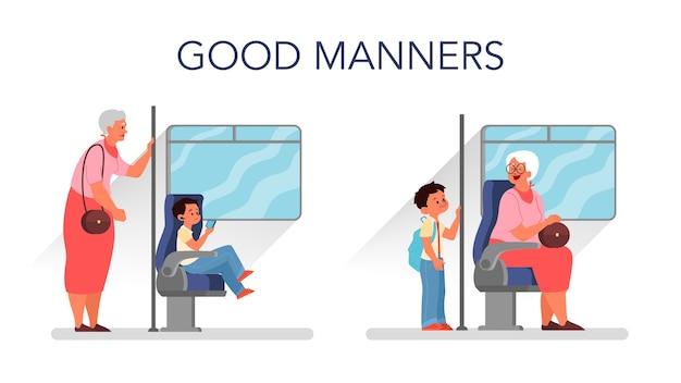 Konzept guter manieren. pensionierte frau, die im bus steht, während kleiner junge sitzt. biy, der einer älteren person platz macht. konzept für elternschaft und kindererziehung.